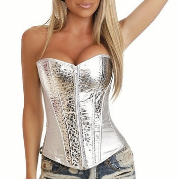 White with Silver Patch Zip-up Corset