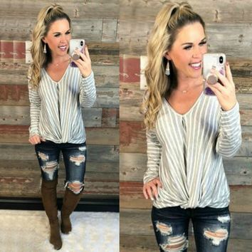 Knot Today Striped Long Sleeve Top: Grey/White