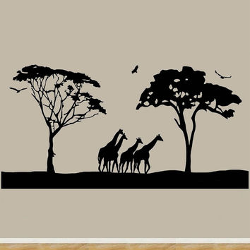 Safari Wall Art Decals Large Animal Wall Decor Giraffes Stickers Jumbo Size M...