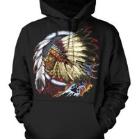 Indian Chief Mens American Indian Sweatshirt, Native American With Feather Headdress Pullover Hoodie: Clothing
