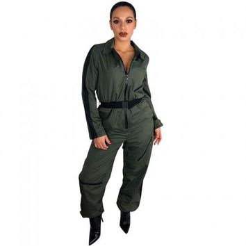 Turn-down Neck Zipper Jumpsuit