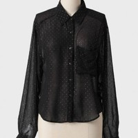 midnight sparkle polka dot blouse at ShopRuche.com