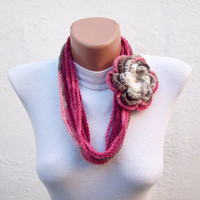 Removeable Brooch Pin  Handmade crochet Lariat Scarf Burgundy Cream Brown Flower Lariat Scarf Colorful Variegated Winter Fashion