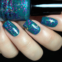 Don't Teal Anyone - Teal Glitter Nail Polish-  0.5 oz Full Sized Bottle