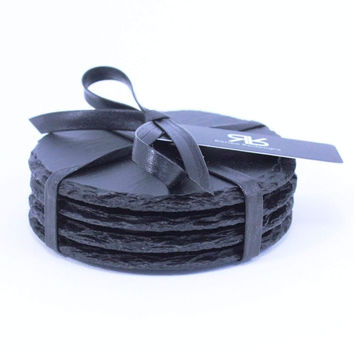 Matte Black Slate Coaster Set