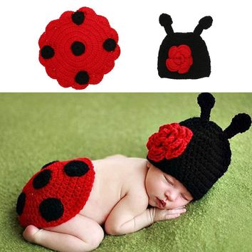 Baby Photography Props Newborn Baby Infant Cute Cotton Wool Knit Ladybug Costume Hat Shell Photo Prop #LD789