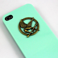 The Hunger Games Logo Mockingjay pendant light green by deity86