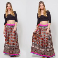 Vintage 70s INDIAN Skirt HAND PRINTED Ethnic Maxi Skirt Hippie Skirt Tassel Belt Bohemian Skirt Gypsy Festival Skirt