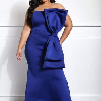 Oversize Bow Formal Event Plus Size Midi Dress
