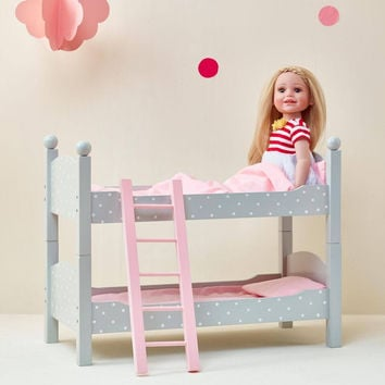"Olivia's Little World - Polka DotsPrincess 18"" Doll Double Bunk Bed - Grey"