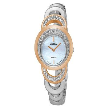 Seiko Womens Solar Modern Jewelry Crystal Watch - Stainless & Rose Gold-Tone