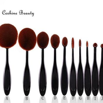 ONETOW Day-First? Professional 10pcs/set Tooth Brush Shape Oval Makeup Brush Set