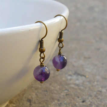 Healing, Genuine Amethyst Gemstone Earrings