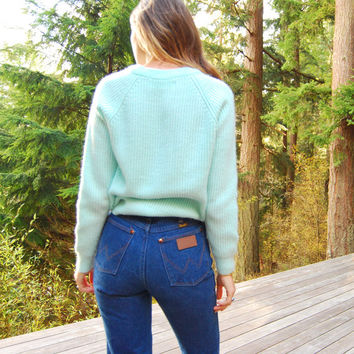 80's Knit Sweater, Sparkle Mint Green V Neck Slouchy Sweater Fuzzy Preppy Pastel Chunky Sweater Top, Glitter Sweater, Sparkly Jumper SM MED