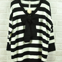 Black And White Stripe Sweater $38.00