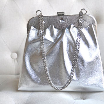 1960s Silver Evening Bag Vintage Metallic Purse