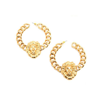 Gold Lion Head Large Chain Hoop Earrings