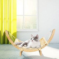 Hanging Cat Beds Mat With Durable Wood Frame