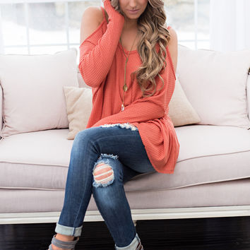 City Of Stars Long Sleeve Cold Shoulder Top (Deep Coral)