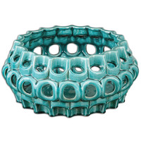 Uttermost 19890 Idola Teal Blue Ceramic Bowl