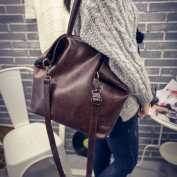 Vintage Leather Shopping Bag Crossbody Shoulder Bag