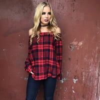 Well Blended Off Shoulder Plaid Top