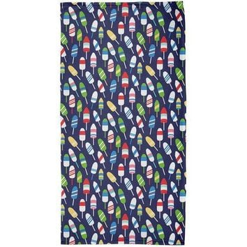 PEAPGQ9 Summer Sun Buoy Bouys Repeat Pattern Navy All Over Beach Towel