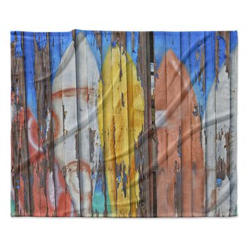 """Susan Sanders """"Surfboard Painted Fence"""" Blue White Photography Fleece Throw Blanket"""