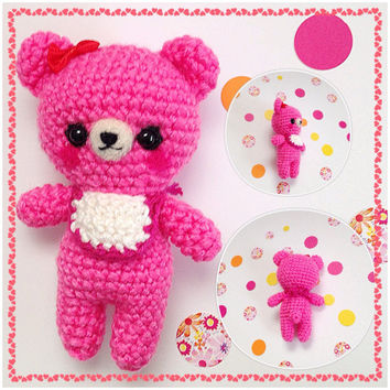 Amigurumi Baby Bear Crochet Bear Pink Bear Crochet Doll Stuffed Animal Plush Stuffed Toy Bear Kawaii Bear Gift Ideas