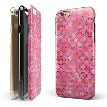 Pink Watercolor Quatrefoil iPhone 6/6s or 6/6s Plus 2-Piece Hybrid INK-Fuzed Case