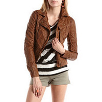 Perforated PU Motorcycle Jacket: Charlotte Russe