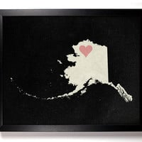 State Love Alaska (Pictured In Black) Giclee, Art Print 8 x 10