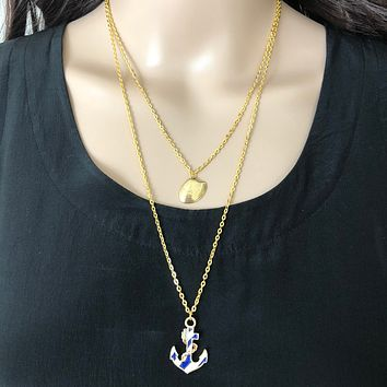 Anchor Gold Layered Nautical Necklace