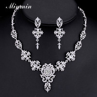 Minmin Classic Crystal Bridal Jewelry Sets Silver/Gold-color Choker Necklace Earrings Sets Wedding Jewelry for Women MTL432