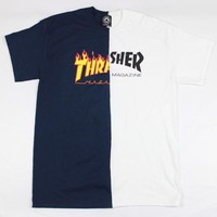 Thrasher Flame Logo Skate Mag Half & Half One Off T-Shirt Navy/White Large