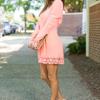 Blissful Beauty Romper, Neon Coral