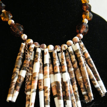 Recycled paper necklace with polymer clay and acrylic beads, unique, handmade, eco friendly