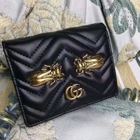 """Gucci"" GG Marmont Purse Women Simple Metal Insect Cicada Rivet Quilted Genuine Leather Short Section Fold Wallet"