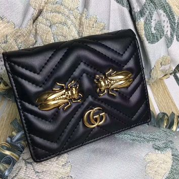 """""""Gucci"""" GG Marmont Purse Women Simple Metal Insect Cicada Rivet Quilted Genuine Leather Short Section Fold Wallet"""