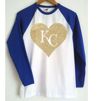 Heart KC,Glitter Vinyl Graphic, Gold Glitter, 3/4 Sleeve Raglan, Royal Blue, Baseball Raglan, KC Royals, World Series, Love Royals, Love KC