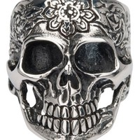 Sovereign Steel Black Oxidized Flower Skull Ring