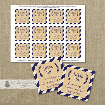 "Navy Stripe Favor Tags Kraft Rustic Shabby Chic Bridal Shower Baby Thank You Tags 2.25"" Square DIY Printable or Printed - Courtney Style"