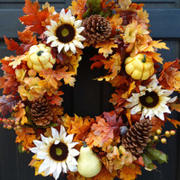 Autumn Leaves Floral Wreath with Pine Cones and Gourds