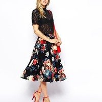 Closet Textured Midi Skirt in Fall Floral Print - Fall floral