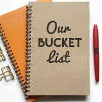 Writing journal, spiral notebook, sketchbook, lined blank or grid, custom, personalized - Our bucket list, to do list