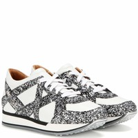 London glitter-embellished leather sneakers