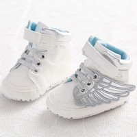 New Spring Autumn Newborn Baby Prewalker Footwear PU Leather Infant Toddler Fashion Angel Wings Cotton Padded Shoes 2Color 3Size