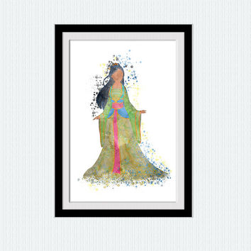 Mulan colorful print Mulan watercolor poster Disney princess poster Disney decor Home decoration Kids room decor Nursery room poster W414