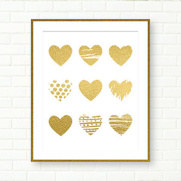 Gold Heart Print, Poster, Gold Foil Art, Vanity Art, Wall Decor, Glam, Modern, Gold Wall Decor, Girl Nursery Wall Art, Baby Girl Prints