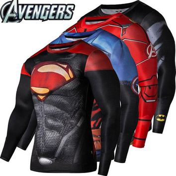 LMFUNT 2016New Sport Wear Fitness Compression Shirt Men Superman Captain America Batman Spiderman Iron Man Sport T-shirt Fitness Wear